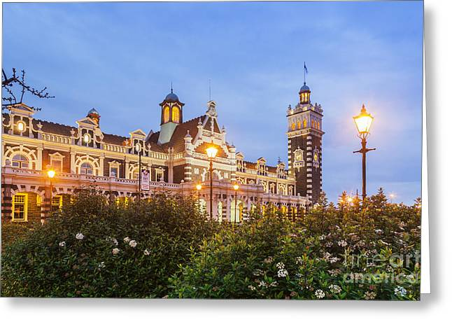Night Lamp Greeting Cards - Dunedin Railway Station Greeting Card by Colin and Linda McKie