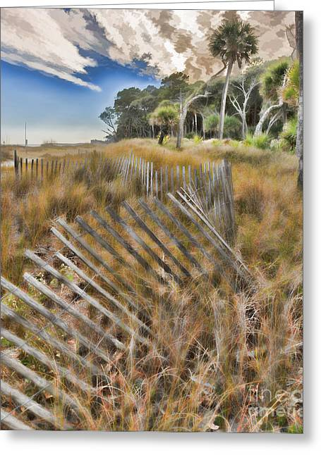 Sand Fences Greeting Cards - Dunes and vegetation at Hunting Island State Park Greeting Card by Louise Heusinkveld