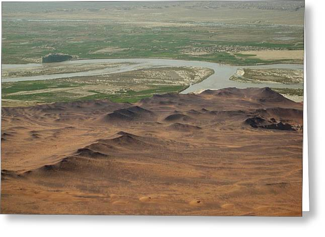 Helmand Province Greeting Cards - Dunes around Helmand River Valley Greeting Card by Jetson Nguyen