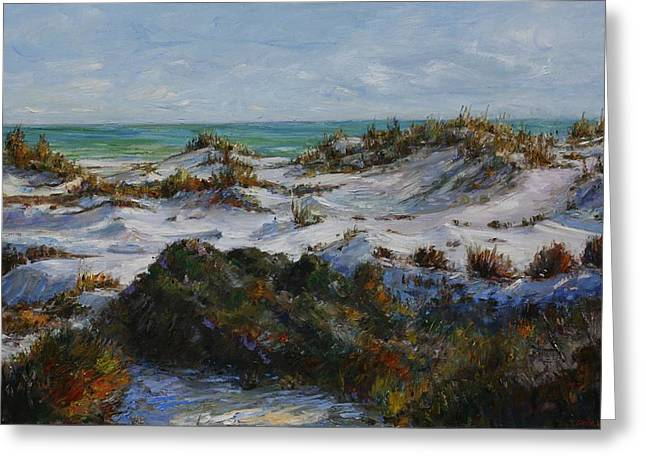 Nature Scene Paintings Greeting Cards - Dunes at Fort Pickens Greeting Card by Theresa Grillo Laird