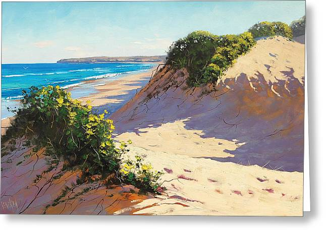 Sand Dunes Paintings Greeting Cards - Dunes Central Coast Greeting Card by Graham Gercken