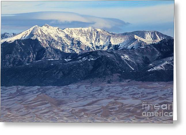 Large Sand Dunes Greeting Cards - Dunes Clouds And Snowcaps Greeting Card by Adam Jewell