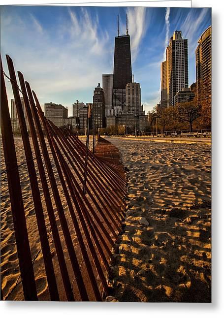 Lake Michgan Greeting Cards - Dunes Fence leads to John Hancock Building at sun rise Greeting Card by Sven Brogren