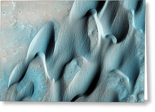Dunes In Herschel Crater Of Mars Greeting Card by Celestial Images