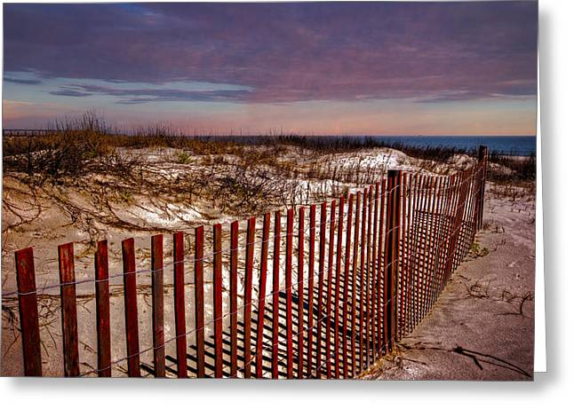 Fenceline Greeting Cards - Dunes on the Beach Greeting Card by Debra and Dave Vanderlaan