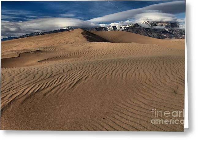 Great Sand Dunes National Preserve Greeting Cards - Dunes Ripples And Clouds Greeting Card by Adam Jewell
