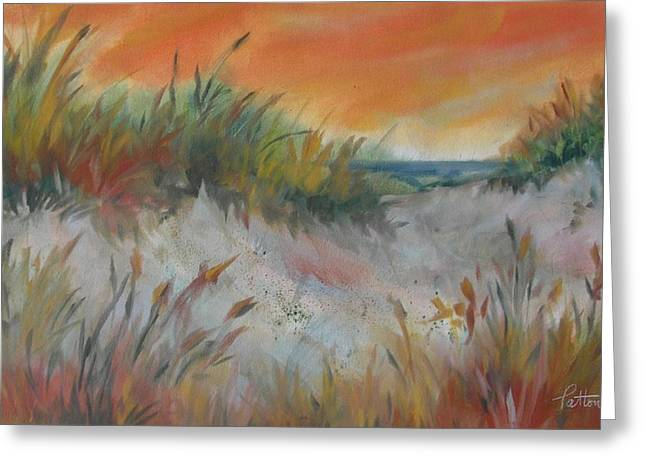 Sand Dunes Pastels Greeting Cards - Dunes with Orange Sky Greeting Card by Karen Ann Patton