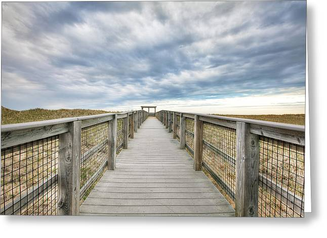 Board Fence Greeting Cards - Dunescape Greeting Card by Eric Gendron