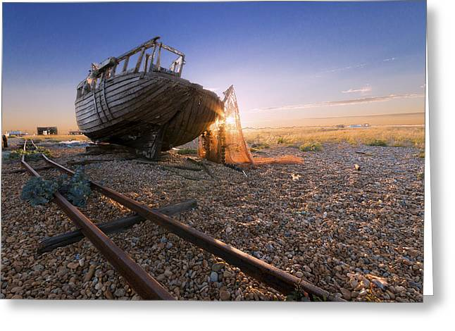 Fishing Boat Sunset Greeting Cards - Dungeness Boat Greeting Card by Ian Hufton