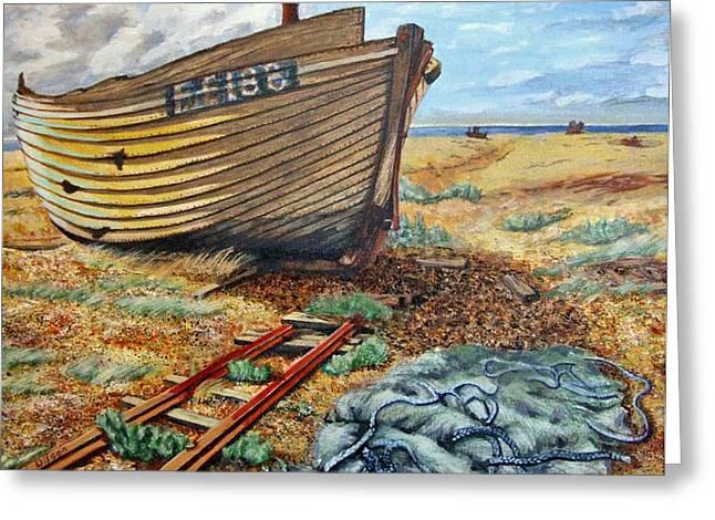Netting Paintings Greeting Cards - Dungeness Detritus Greeting Card by Linda Wilson