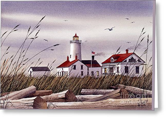 Artist James Williamson Maritime Print Greeting Cards - Dungeness Lighthouse Greeting Card by James Williamson