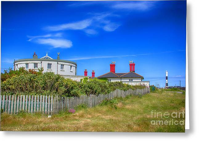 Glass Pebble Greeting Cards - Dungeness Lighthouse Quarters Greeting Card by Chris Thaxter