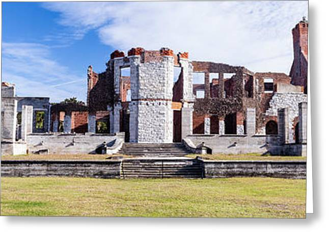 Historic Home Greeting Cards - Dungeness Ruins Panorama Cumberland Island Georgia Greeting Card by Dawna  Moore Photography