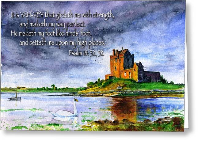 Psalms Greeting Cards - Dunguaire Castle Psalm 18 Greeting Card by John D Benson