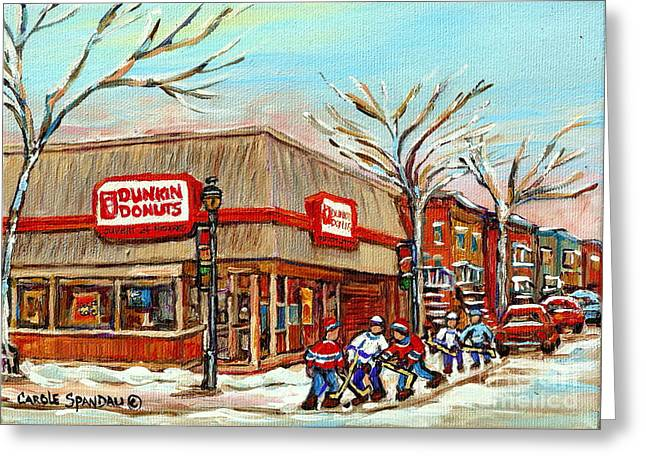 Verdun Food Greeting Cards - Dunkin Donuts Rue Wellington Verdun Montreal  Paintings Hockey Art Winter Street Scenes Cspandau  Greeting Card by Carole Spandau