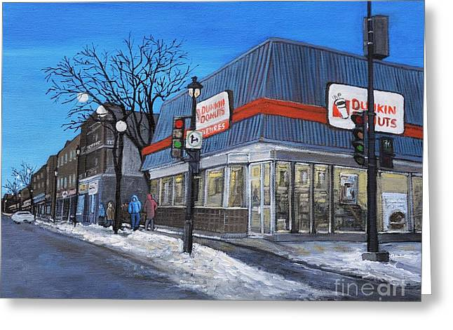 Dunkin Donuts Wellington Street Verdun Greeting Card by Reb Frost