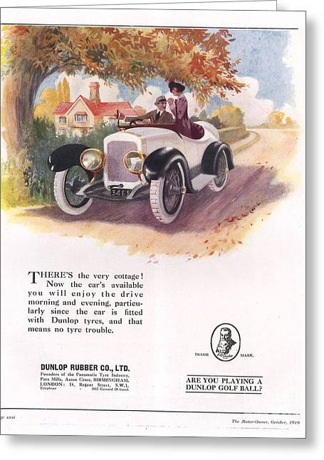 Nineteen-tens Greeting Cards - Dunlop 1919 1910s Uk Cars Tyres Greeting Card by The Advertising Archives