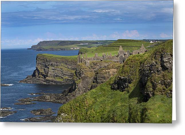 Blue Green Wave Greeting Cards - Dunluce Castle Greeting Card by Betsy A  Cutler