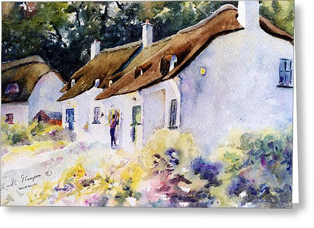 print Paintings Greeting Cards - Dunmore East Thatched Cottages County Waterford Greeting Card by Keith W Thompson