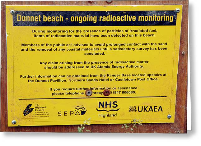 Dunnet Beach Radiation Monitoring Greeting Card by Public Health England