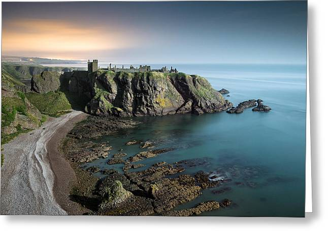 Headlands Greeting Cards - Dunnottar by Moonlight Greeting Card by Dave Bowman