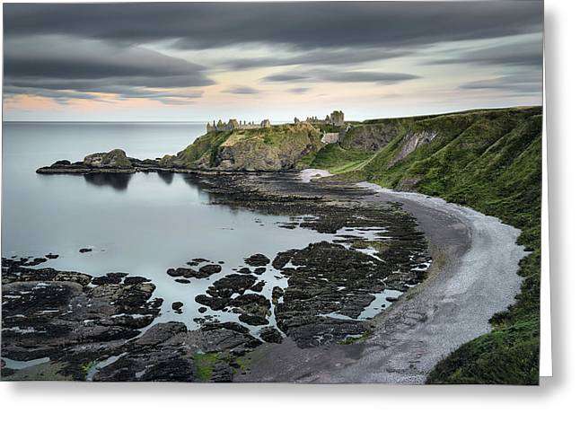 Headlands Greeting Cards - Dunnottar Twilight Greeting Card by Dave Bowman