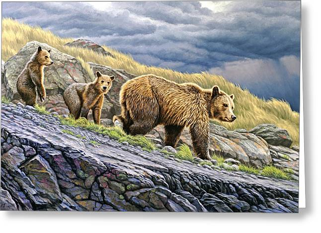 Yellowstone Greeting Cards - Dunraven Pass Grizzly Family Greeting Card by Paul Krapf