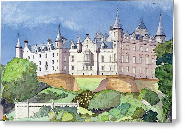 Daylight Paintings Greeting Cards - Dunrobin Castle Greeting Card by David Herbert