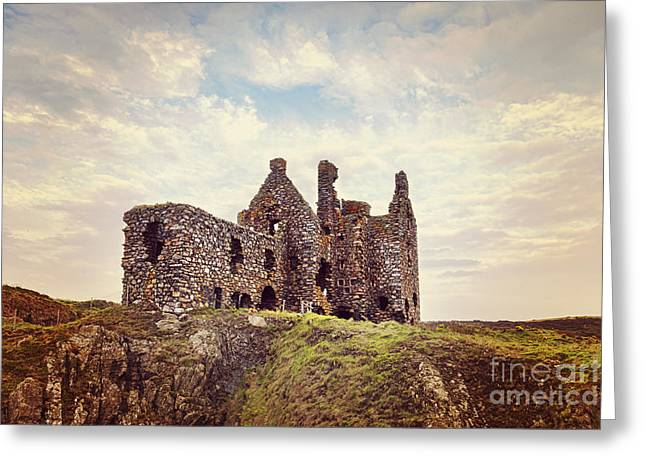 Cliffs And Houses Greeting Cards - Dunskey Castle Greeting Card by Colin and Linda McKie