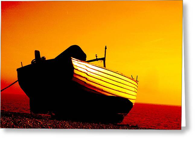 Fishing Boats Greeting Cards - Dunwich sunset Greeting Card by Vaughan Keal