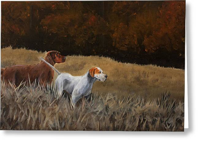 Setter Pointer Greeting Cards - Duo Greeting Card by Paul Francev