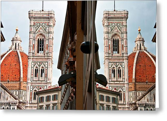 Firenza Greeting Cards - Duomo and reflection Greeting Card by Dennis Cox WorldViews