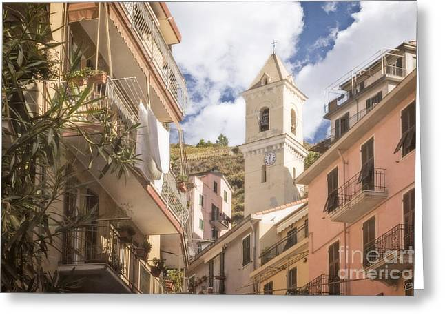 Soft Clocks Greeting Cards - Duomo Bell Tower of Manarola Greeting Card by Prints of Italy