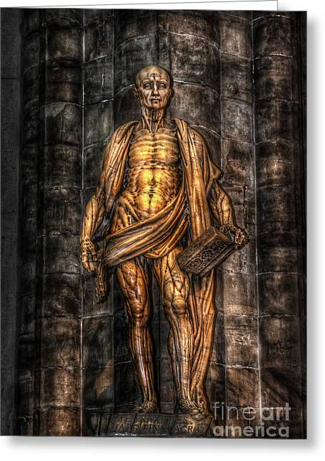 Hdr Landscape Pyrography Greeting Cards - Duomo Man Greeting Card by Mauro Celotti