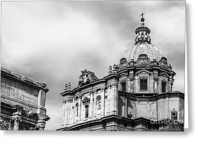 E Black Greeting Cards - Duomo of Santi Luca e Martina and Arch of Septimius Severus  Greeting Card by Prints of Italy