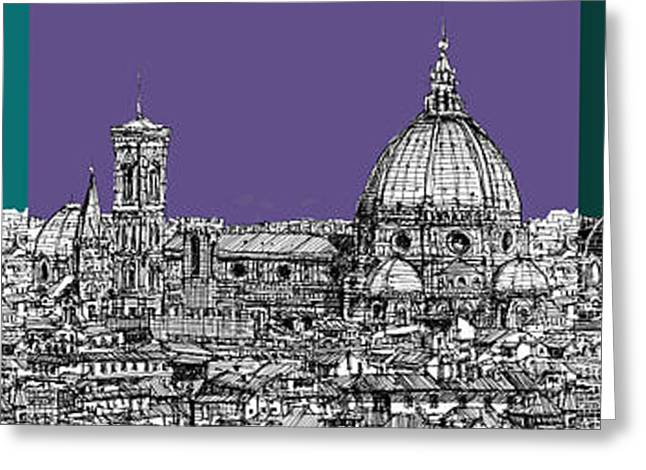Pen And Ink Framed Prints Greeting Cards - Duomo Triptych lilac and turquoises Greeting Card by Lee-Ann Adendorff