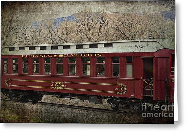 Old Caboose Greeting Cards - Durango and Silverton Alamosa Train Car Greeting Card by Janice Rae Pariza