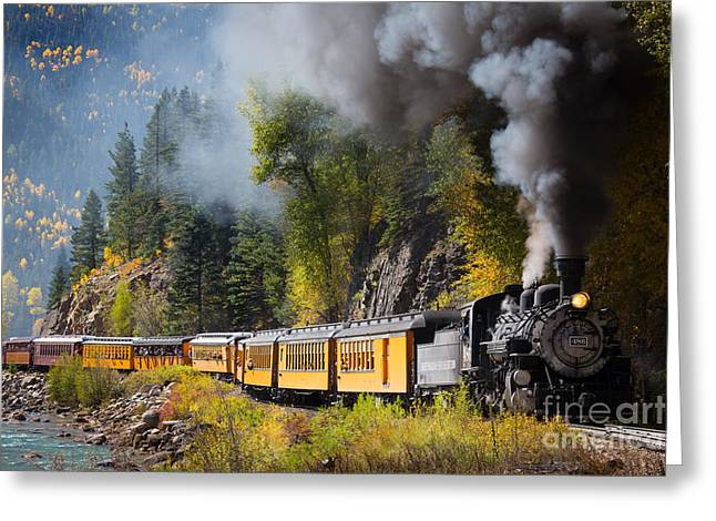 Narrow Greeting Cards - Durango-Silverton Narrow Gauge Railroad Greeting Card by Inge Johnsson