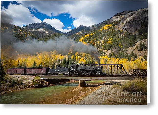 Durango Greeting Cards - Durango-Silverton Twin Bridges Greeting Card by Inge Johnsson