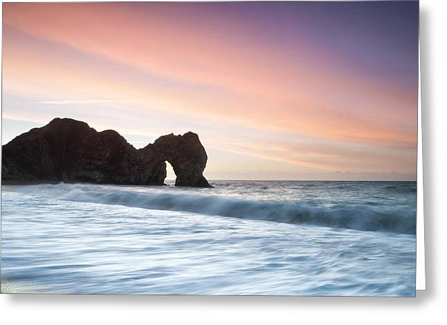 Durdle Door Sunrise Greeting Card by Chris Frost