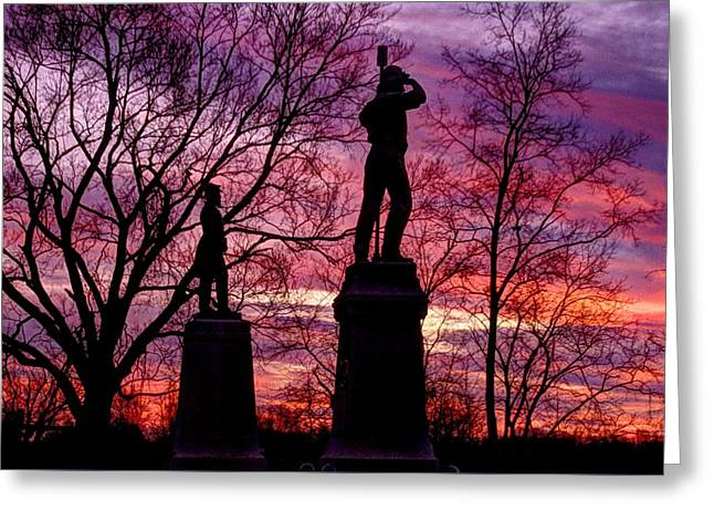 Afternoon Battle Greeting Cards - Durells Independent Battery D and 48th PA Volunteer Infantry-A1 Sunset Antietam Greeting Card by Michael Mazaika