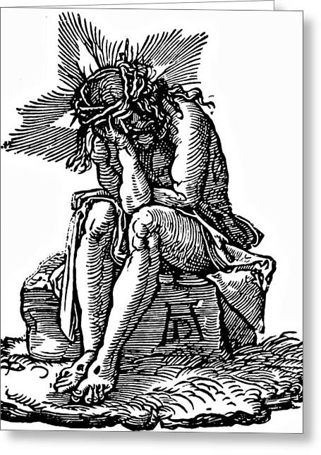 Crucifix Art Drawings Greeting Cards - Durer Engraving Christ Suffering Greeting Card by