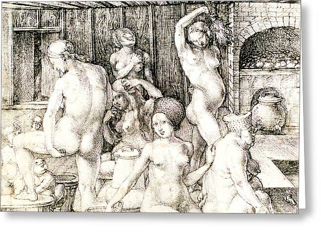 WomenÕs Drawings Greeting Cards - Durer Womans Bath Drawing Greeting Card by