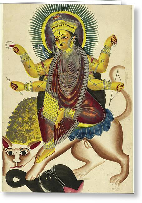 Durga As Jagaddhatri Riding On Her Lion Greeting Card by British Library