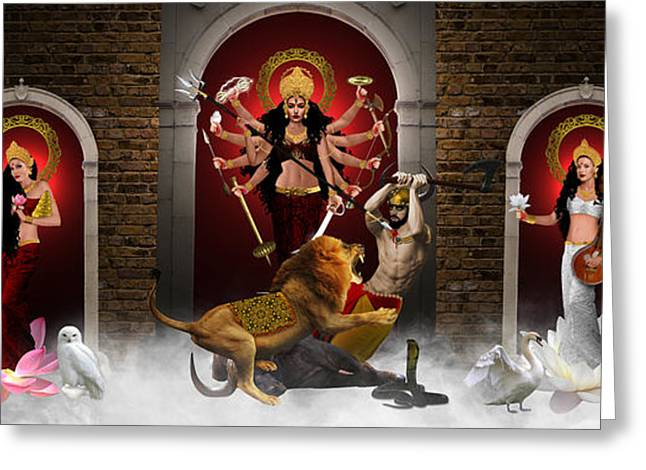 Goddess Durga Digital Art Greeting Cards - Durga Family Greeting Card by Creative Sunny