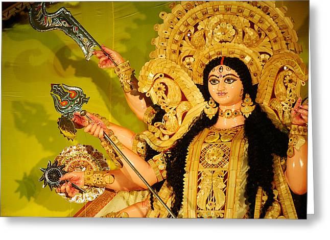 Durga Idol Greeting Card by Money Sharma