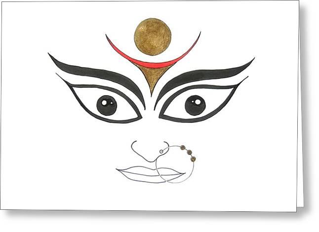 Durga Greeting Cards - Durga III Greeting Card by Kruti Shah