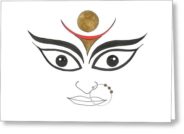 Goddess Durga Greeting Cards - Durga III Greeting Card by Kruti Shah