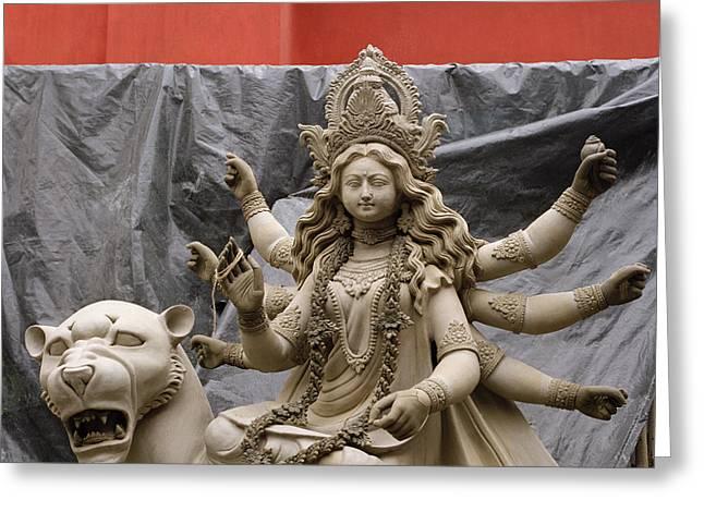 Durga In Kumartuli Greeting Card by Shaun Higson