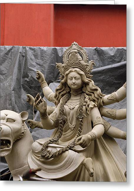 Durga Puja Greeting Cards - Durga In Kumartuli Greeting Card by Shaun Higson